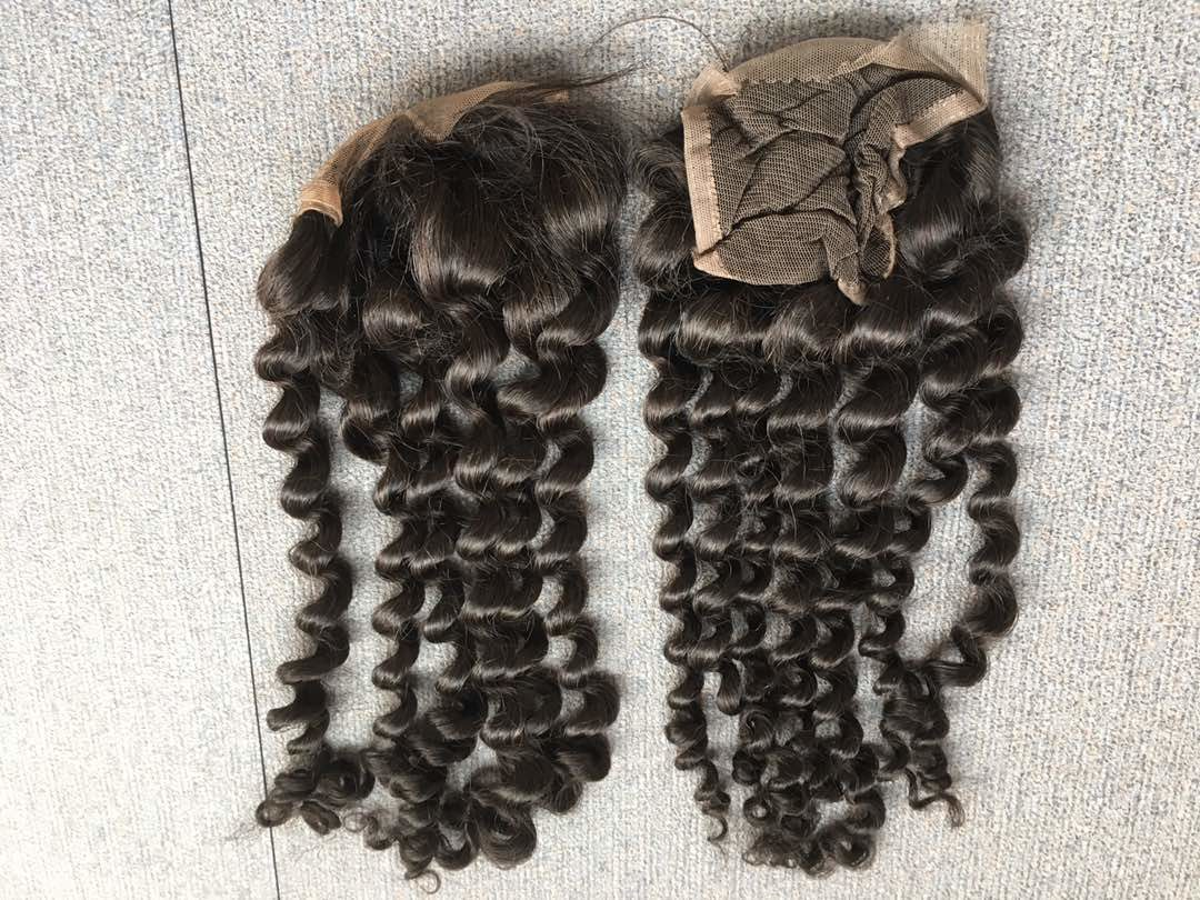 Deep Curly Hair Closures - Free Part front and lace side