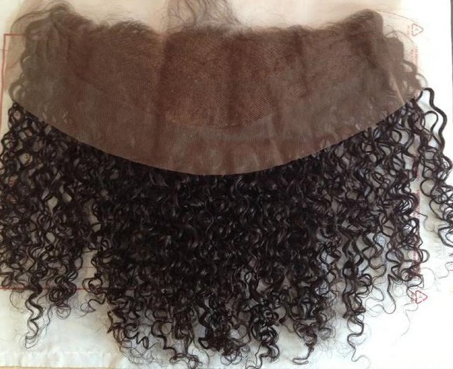 Deep curly frontal lace closure lace side
